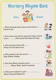 nursery rhyme baby shower baby shower nursery rhyme quiz unisex pack of 10 cards