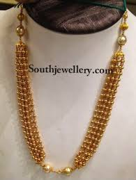 long gold beads necklace images Antique gold beads necklace jewellery designs jpg