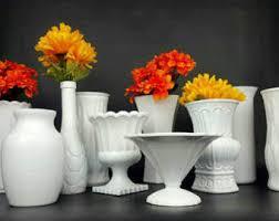 White Glass Vases White Glass Vase Etsy