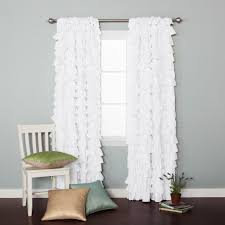 Cream Ruffle Curtains Accessories Archaic Bedroom Design And Decoration Using Large