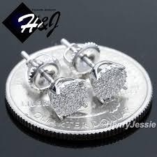 back earrings for men men women 925 sterling silver 6mm lab diamond iced out bling