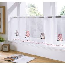 ready made cafe net voile panel with embroidered designs slot