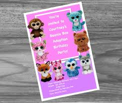 beanie boo birthday party invites custom made just for you