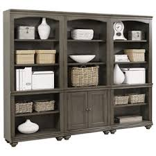 weathered grey semi backless bookcase by coaster wolf and