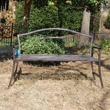 Steel Outdoor Bench Vine Cast Aluminum Brown Curved Back 4 Ft Outdoor Metal Bench