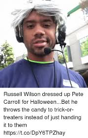 Russell Wilson Meme - russell wilson dressed up pete carroll for halloweenbet he throws