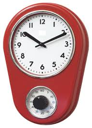 amazon com retro kitchen timer wall clock red by lily u0027s home