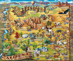 California Arizona Map by Arizona Travel Illustrated Map