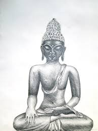 sitting pencil sketch of lord buddha ji god pictures