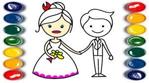 bride groom coloring book kids learn colors