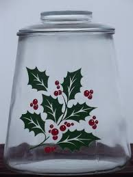 Red Glass Kitchen Canisters by Red And Green Christmas Holly Clear Glass Cookie Jar Kitchen Canister