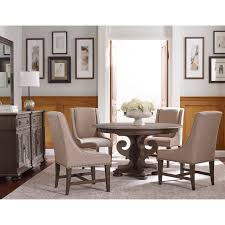 grant scrolled pedestal round dining table with one extension leaf