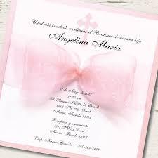 Wedding Invitations In Spanish Spanish Baptism Invitation Christening Pink Ribbon