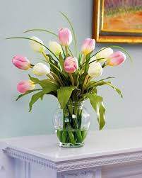 silk flower arrangements amazon com mixed tulip silk flower arrangement pink white home