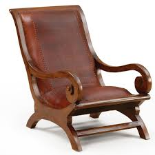 Teak Wood Furniture Lazy Chair Leather Seat Handmade Of Teak Wood For The Home