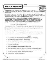 prepositional phrases preposition worksheets