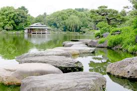 Zen Water Garden Japanese Pavilion Building Stone Bridge Water Pond In The Zen