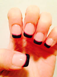 french manicure with black tips and pink accent line nails i