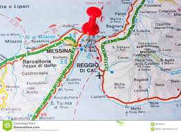 Italy On The Map by Villa San Giovanni Or The Strait Of Messina Italy On A Map Stock