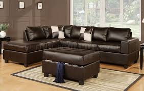 Modern Furniture Depot by F7351 Sectional Sofa In Espresso Bonded Leather By Poundex