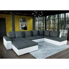 canapé grand grand canapé d angle en u smile gris et blanc achat vente canapé