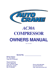 auto crane ac30a owner s manual