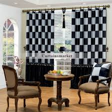Plaid Drapes Black And Grey Plaid Curtains For Living Room And Bedroom