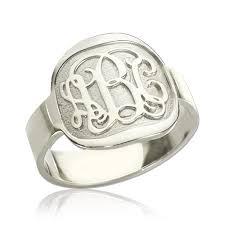 monogram ring silver engraved designs monogram ring sterling silver