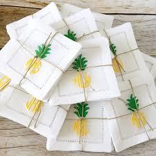 monogrammed pineapple linen cocktail napkins linen napkins