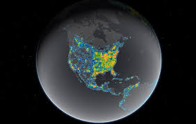 us map globe interactive map reveals light pollution around the globe daily