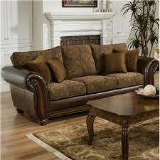 Leather Upholstery Sofa Simmons Upholstery 8104 Leather And Chenille Seat Royal