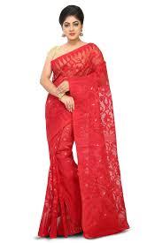 dhakai jamdani saree online admirable color jamdani cotton saree with floral and creeper