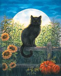halloween garden flag amazon com harvest moon cat fall garden flag black cat halloween