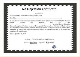 noc report template no objection certificate templates microsoft word excel templates