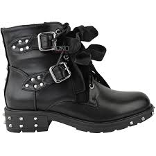 ladies black motorcycle boots new womens ladies studded lace up ankle boots buckle biker goth