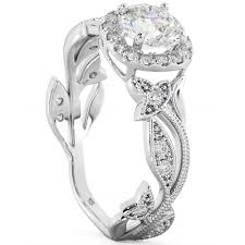 leaf engagement ring sterling silver cz floral leaf engagement and wedding ring
