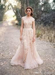 simple wedding dress discount blush arabic wedding dresses v neck sleeve vintage