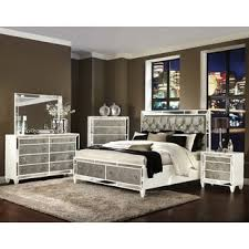 Deals On Bedroom Furniture by Celine 5 Piece Mirrored And Upholstered Tufted Queen Size Bedroom