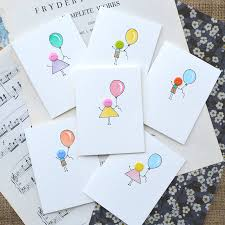 pack of six handmade button balloon birthday cards by hannah