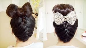 plait at back of head hairstyle upside down french braid hair bow sock bun updo hair tutorial