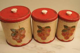 vintage kitchen canister set metal cherries red and cream bakelite vintage kitchen canister set metal cherries red and cream bakelite knobs 1950s