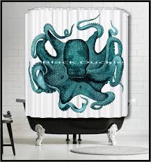 Nautical Bathroom Curtains Aqua Octopus Shower Curtain Nautical Shower By Theblackduckie
