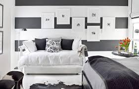 Grey And White Bedroom Wallpaper Black White Bedroom Blue And White Cloud Wallpaper Behind A Bed