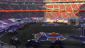 monster jam 2015 trucks monster jam 2015 levi stadium trucks entering the stadium with