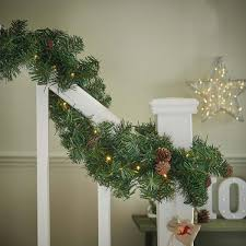 outdoor pre lit garland with pine cones connectable 50