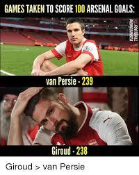 Van Persie Meme - games taken to score 100 arsenal goals van persie 239 giroud 238