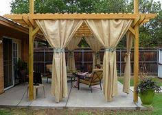 wood pergola with curtains u2013 50 ideas for privacy in the garden