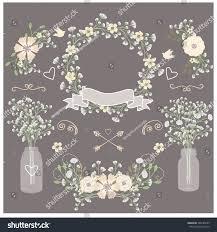 Mason Jar Wedding Programs Baby Breath Mason Jar Wedding Invitation Stock Vector 348185585
