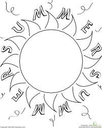 color the summer sun worksheet education com