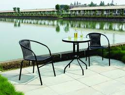 Black Metal Bistro Table Sturdy Black Metal Balcony Furniture Table Sets In Mid Century
